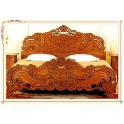 King Size Teak Wood With Design Double Bed All India